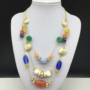 Chico's Colorful Art Glass Beaded Necklace